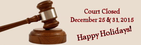 Court Closed for Holidays
